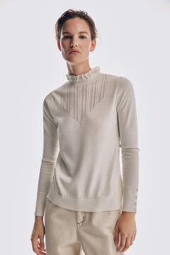 Pedro del Hierro Romantic patterned yoke jumper Beige
