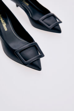 Pedro del Hierro Black nappa leather court shoe with covered buckle Black
