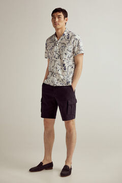 Pedro del Hierro Printed Italian fabric short-sleeved camp collar shirt  Blue