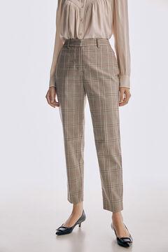 Pedro del Hierro Slim fit checked trousers Beige