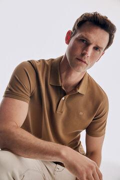 Pedro del Hierro Basic short sleeve polo shirt Beige
