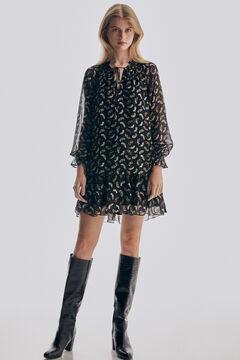 Pedro del Hierro Short printed double-layer dress Brown