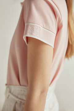 Pedro del Hierro Contrast short-sleeved polo shirt Pink