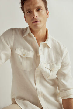 Pedro del Hierro Two-pocket linen shirt White