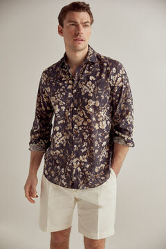 Pedro del Hierro Slim fit shirt in Italian floral print fabric Grey
