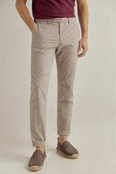 Pedro del Hierro Micro pattern slim fit trousers Beige