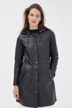 Pedro del Hierro Hooded leather parka Blue