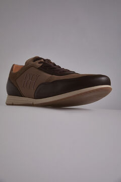 Pedro del Hierro Icon leather and nylon sneaker Brown