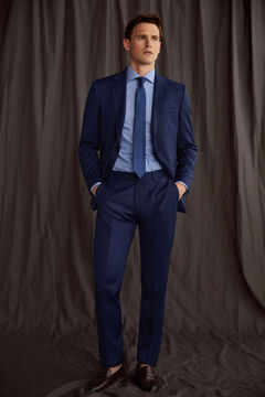 Pedro del Hierro Tailored fit blue trousers Blue