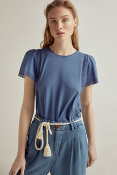Pedro del Hierro Embroidered vest top with flounced sleeves Blue