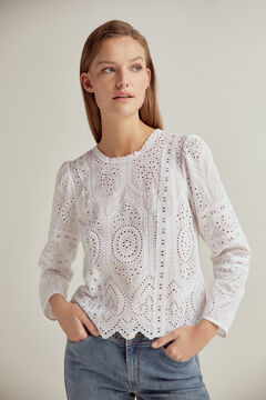 Pedro del Hierro Embroidered fabric blouse Beige