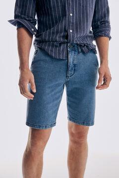Pedro del Hierro Regular fit light wash SUMMER FLEX denim chino Bermuda shorts Blue