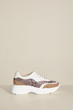 Pedro del Hierro Combined leather sneaker Brown