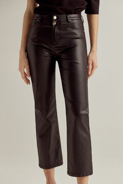 Pedro del Hierro Shiny leather-effect straight trousers Black