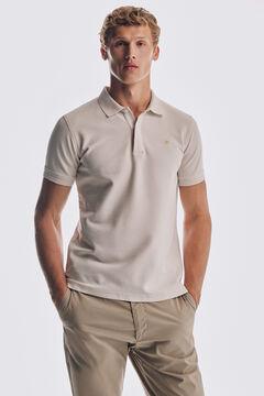 Pedro del Hierro Antivirus short sleeve slim fit polo shirt Ecru