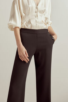 Pedro del Hierro High waist buttoned trousers Black