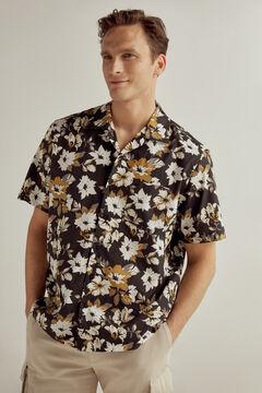 Pedro del Hierro Camisa estampada flores cuello camp manga corta Black