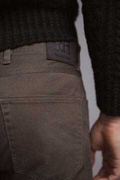 Pedro del Hierro Pantalón 5 bolsillos color micro estampado slim Gris