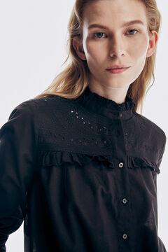 Pedro del Hierro Embroidered yoke T-shirt  Black