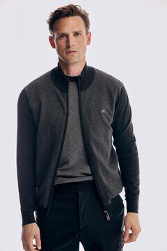 Pedro del Hierro Herringbone front zip cardigan Grey