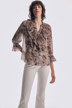 Pedro del Hierro Printed pleated blouse Pink