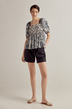 Printed blouse and pleated shorts set