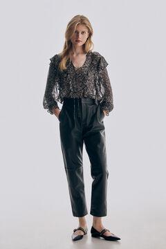 Bambula blouse, nappa leather trousers and leather ballerina set