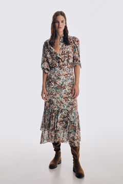 Printed blouse and printed skirt set
