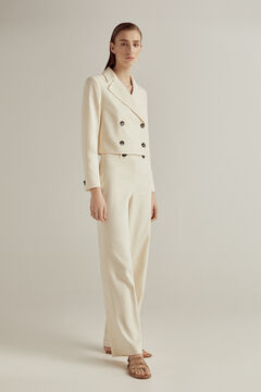 Cropped blazer and high-waisted trousers set