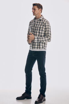 Checked overshirt and denim trousers set