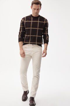 Checked jumper, denim trousers and urban shoe set