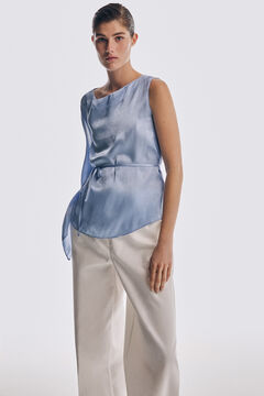 Box neckline top and wide trousers set