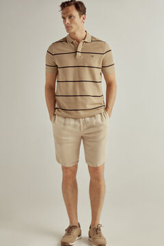 Set of short sleeve polo shirt and linen bermuda