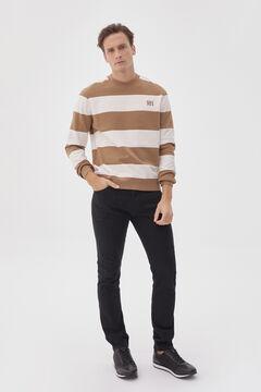 Striped sweatshirt and denim trousers set