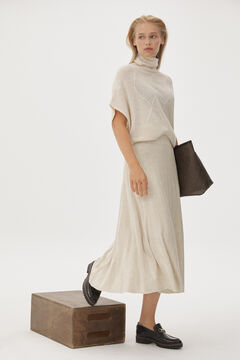 Set of poncho, knitted skirt, track moccasin and shopper bag