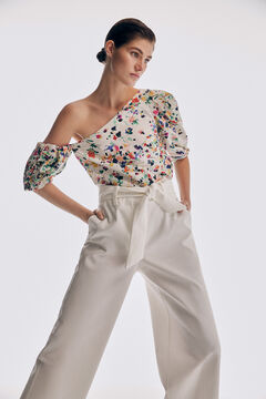 Asymmetrical top and wide trousers set