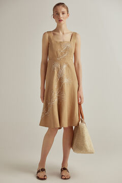 Embroidered dress, braided bag and flat leather sandal set