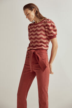 Wave jumper and straight fit Tencel trousers set