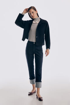 Cropped blazer, striped jumper and denim trousers set