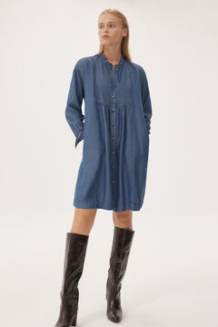 Denim dress and heeled boot set