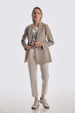 Check blazer, short sleeve t-shirt, mom fit jeans and leather trainers set