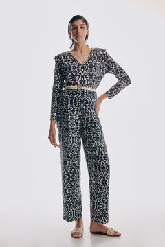 Printed top and wide trousers set