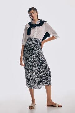 Poplin basic blouse and printed skirt set