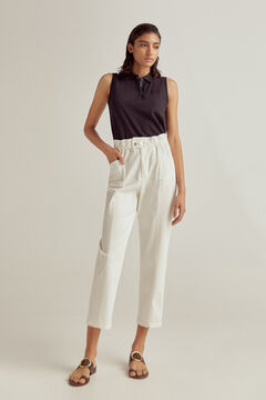 Sleeveless polo shirt and paperbag trousers set