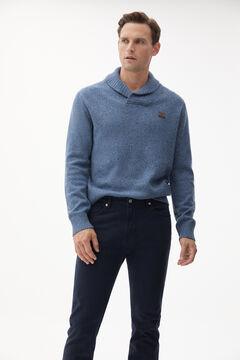Dinner jacket neck jumper and denim trousers set