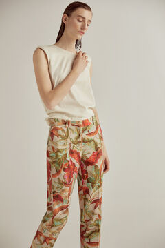 Set of shoulder-strap top and printed trousers