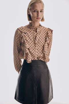 Ruffled blouse and nappa leather skirt set