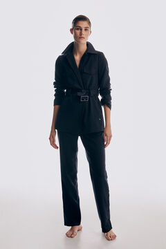 Belted blazer and high-waist trousers set