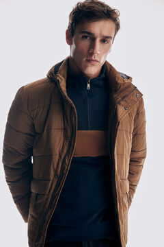 Set of feather jacket, semi-sheer sweatshirt, denim trousers and leather sneaker