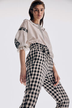 Embroidered blouse and pyjama trousers set